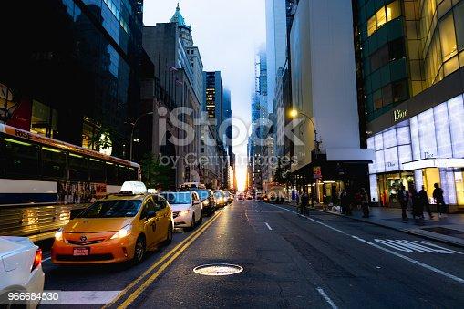 The street view of Manhattanhenge on 57th street in Manhattan.