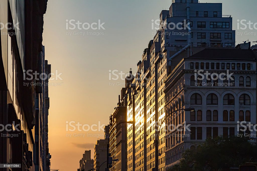 Manhattanhenge Sunset in New York City stock photo