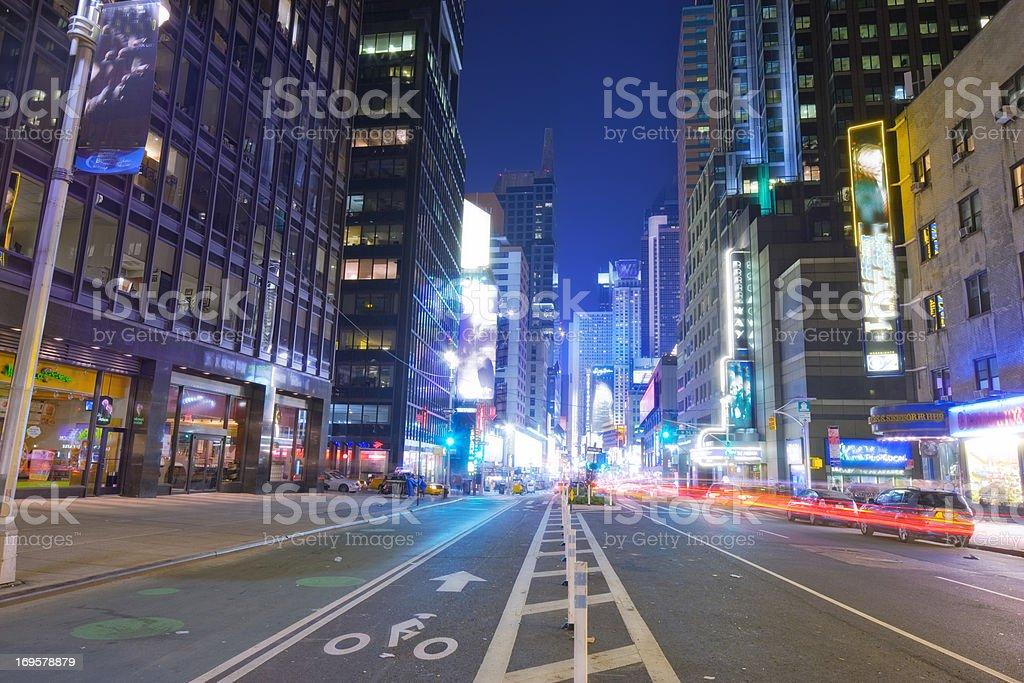 Manhatten at night, NYC stock photo