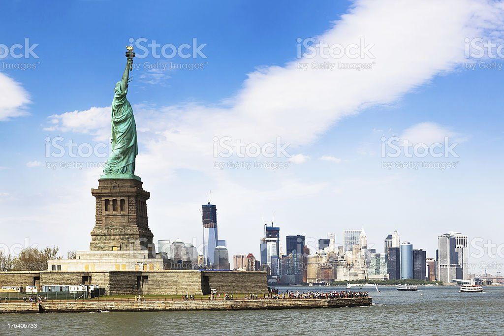 Manhatten Skyline with Statue of Liberty royalty-free stock photo