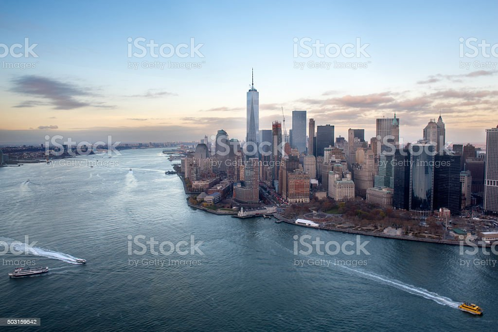 Manhatten view from the helicopter stock photo