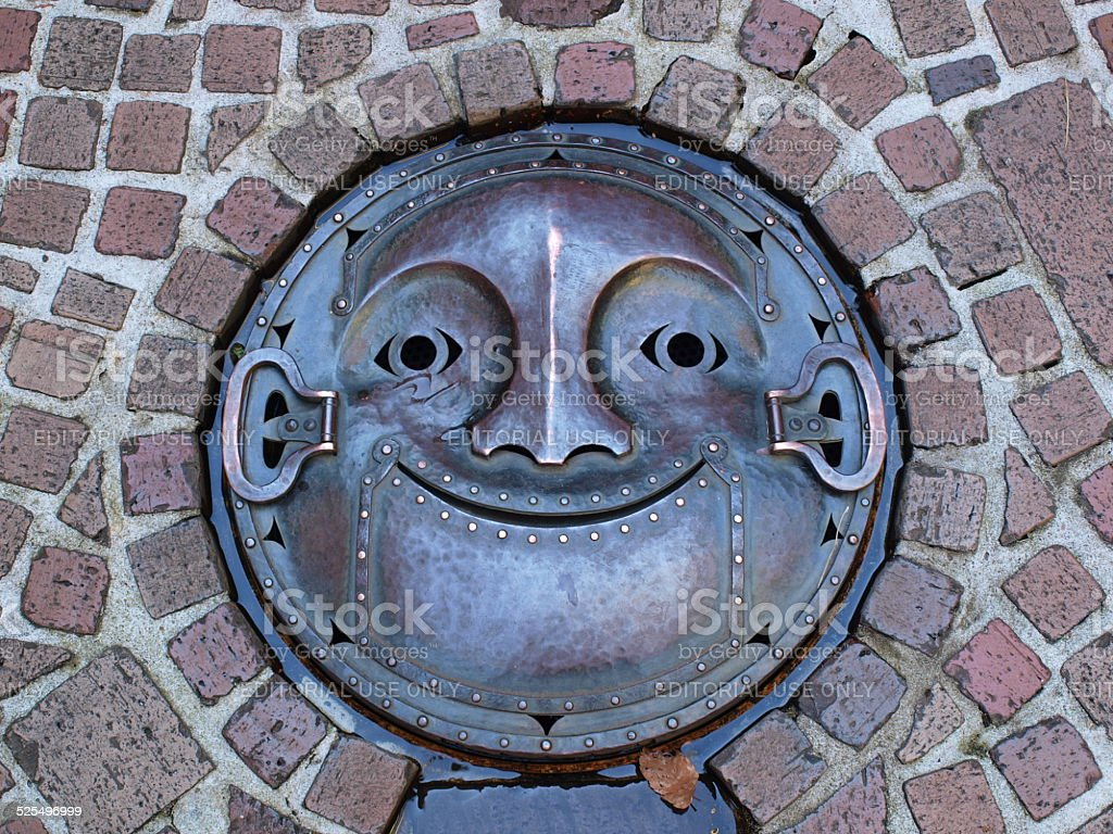 manhole cover in Ghibli museum, Tokyo-Japan. stock photo
