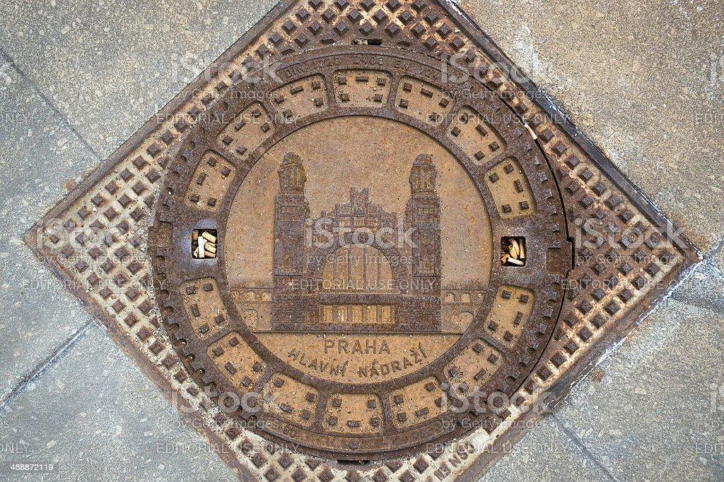 Manhole cover in Prague, Czech Republic royalty-free stock photo