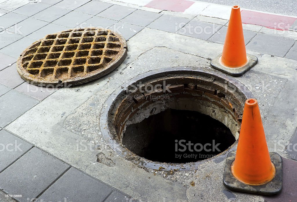 Manhole on the footbath near street stock photo