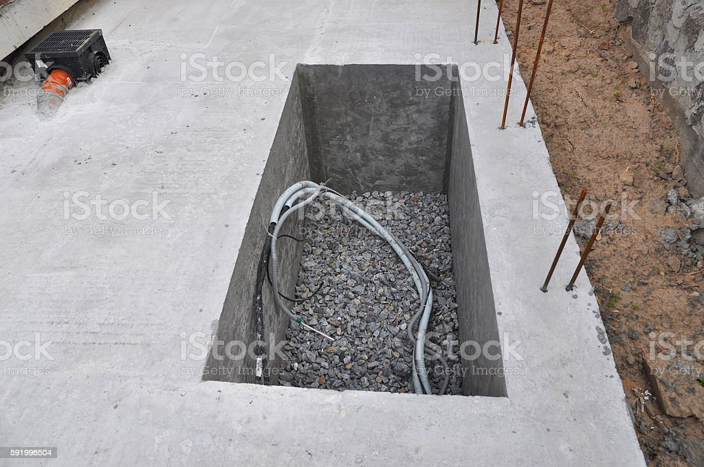 Manhole Water Borehole under Construction for Water Supply System stock photo