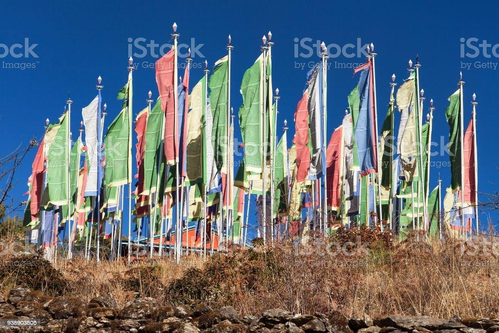 Mani prayar flags stock photo
