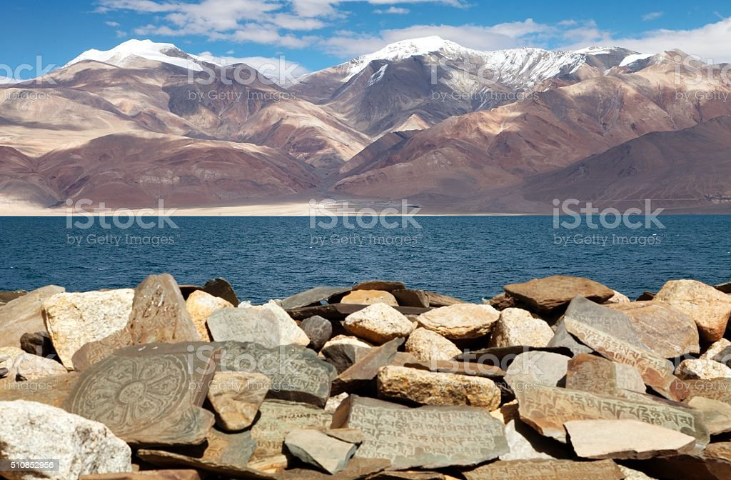 Mani wall and Tso Moriri lake - Rupshu valley stock photo