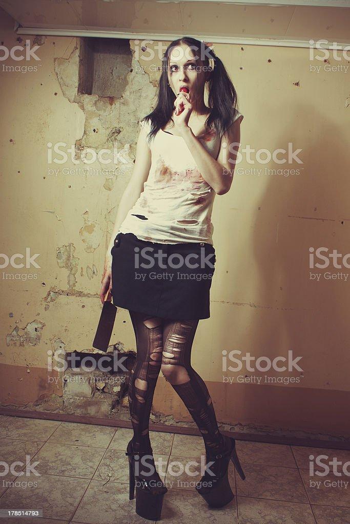 Maniac babe stock photo