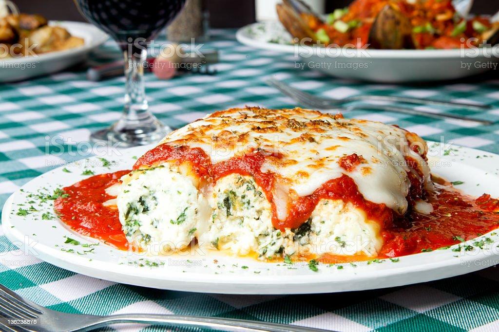 Manicotti an Italian Dinner stock photo