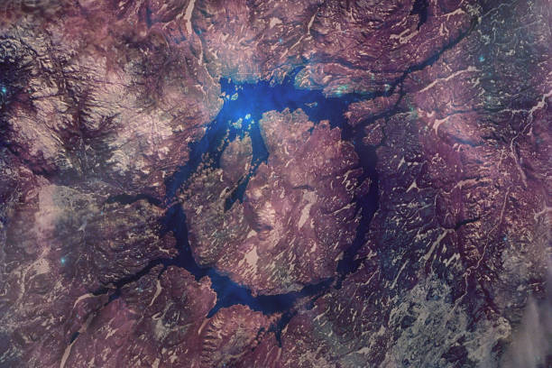 manicouagan impact crater, the 50-mile diameter structure was distant past left by a massive meteorite collision . satellite view, collage with volune effect. elements of this image furnished by nasa. - diameter stock pictures, royalty-free photos & images