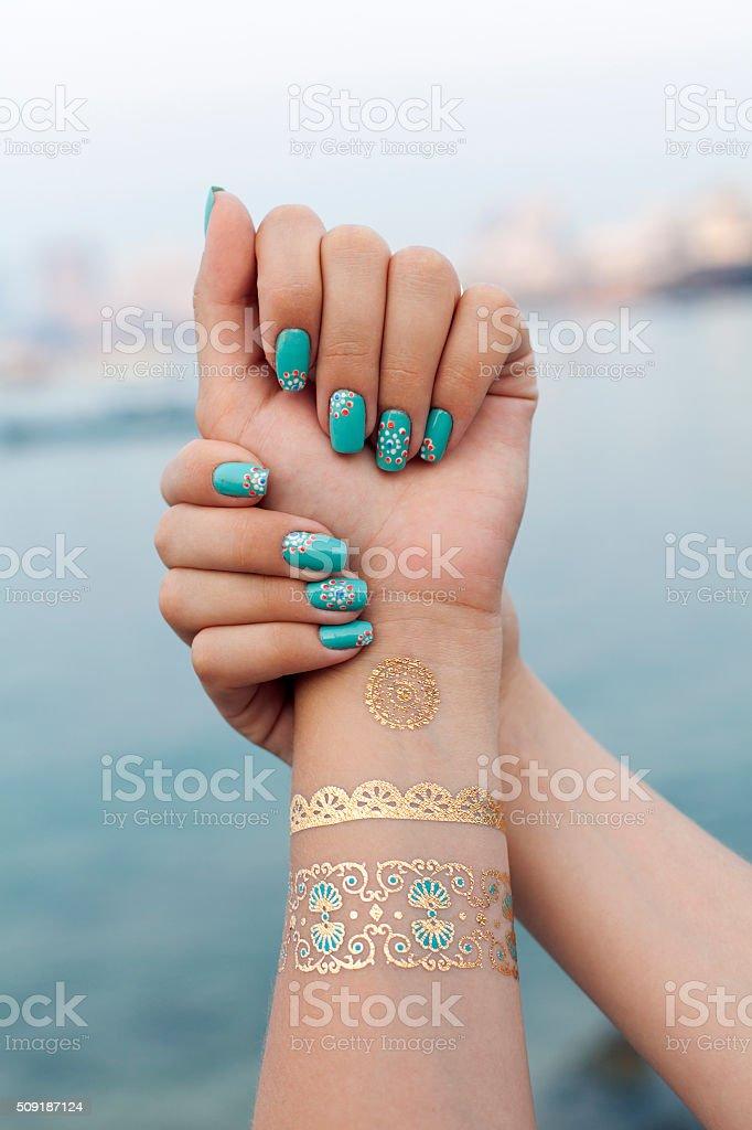 manicure and mehendi stock photo