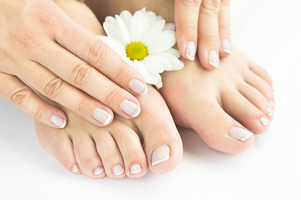 Manicure and pedicure, natural nails stock photo
