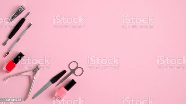 Manicure and pedicure tools on pink background view from above nail picture id1208104775?b=1&k=6&m=1208104775&s=612x612&h=dfeqt  qfncly8 yayvi4fhgcjmqgb410lrvzcuonta=