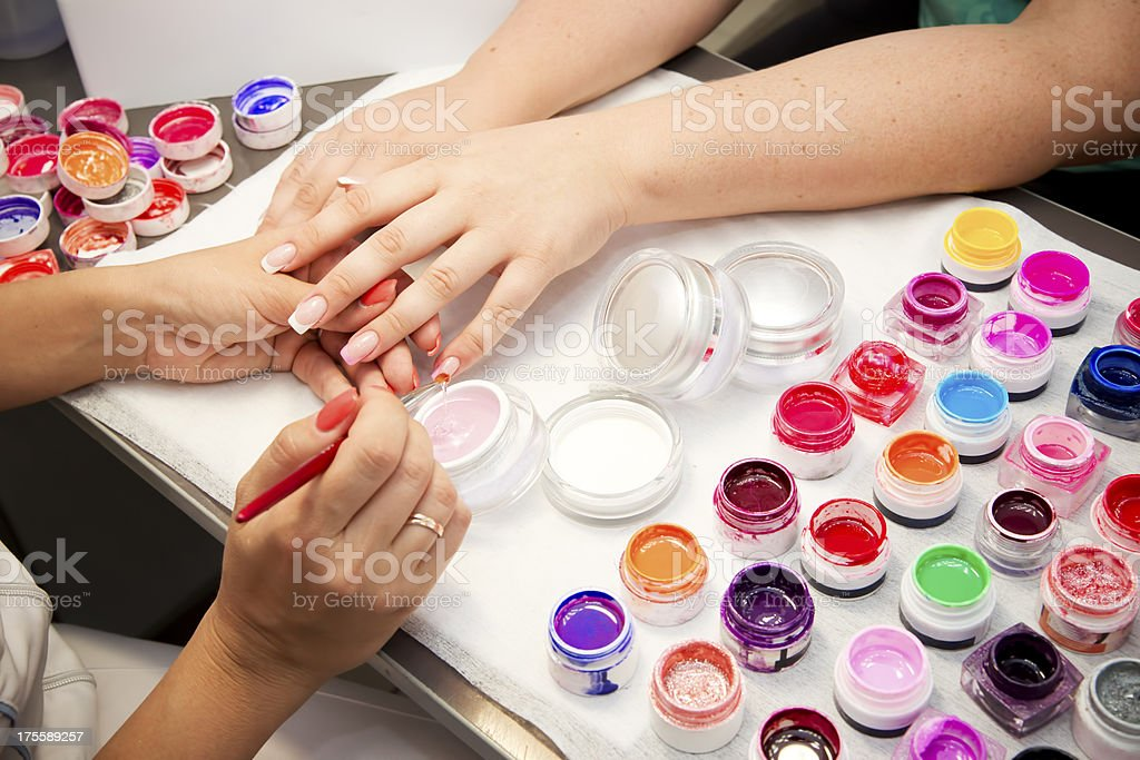 Manicure at the beauty salon royalty-free stock photo