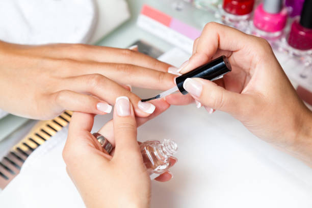 manicure at the local spa - milan2099 stock photos and pictures