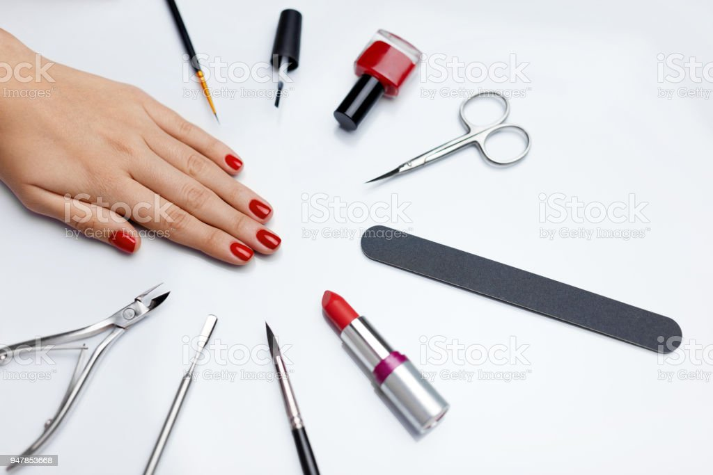 Professional Manicure. Closeup Of Beautiful Woman\'s Nails With Red...