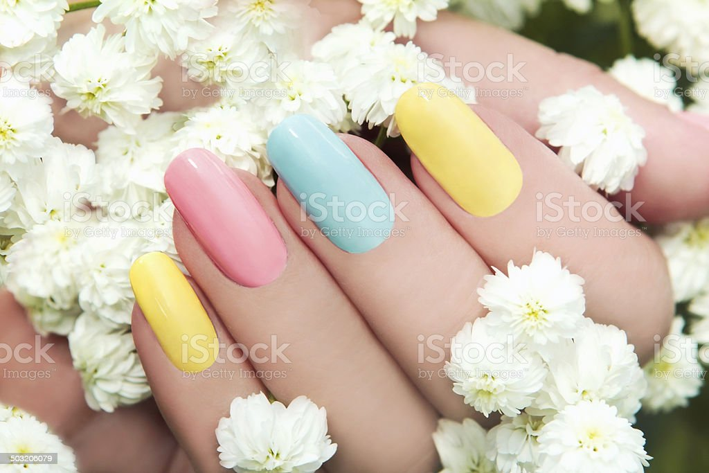 Pastel manicure. stock photo