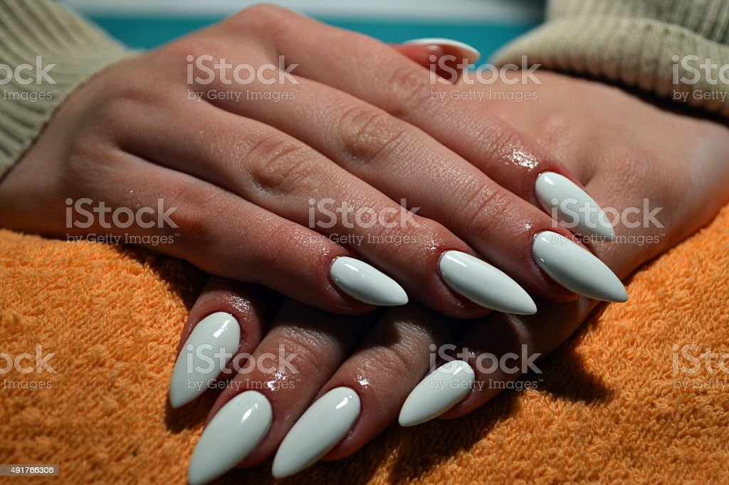 Manicure gel nails stock photo