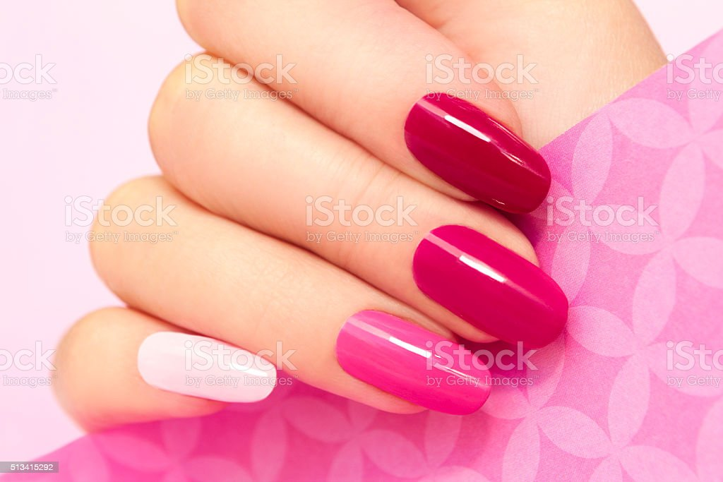 Manicure in pink. stock photo