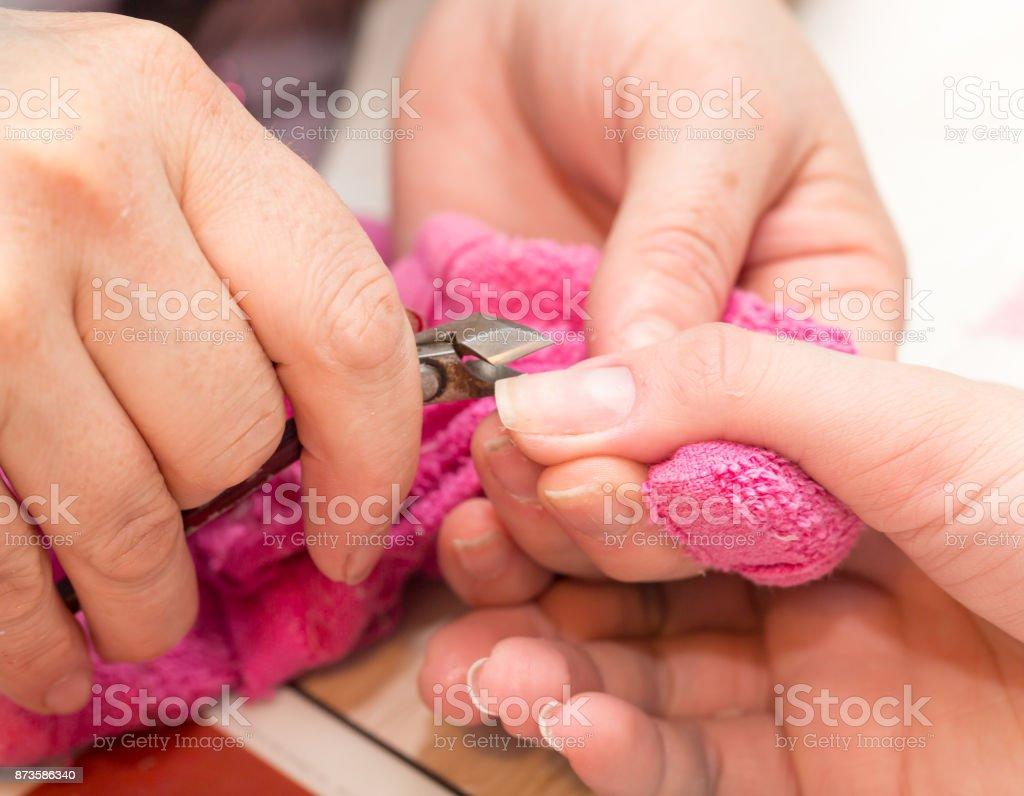 manicure in salon stock photo