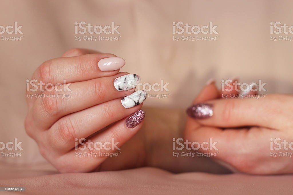 Manicure Marble Black White Pink Shiny Stock Photo Download Image Now Istock