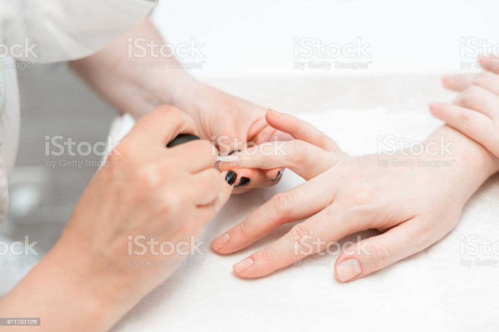 Manicure. Master applies varnish drawing on nails gel in spa ....