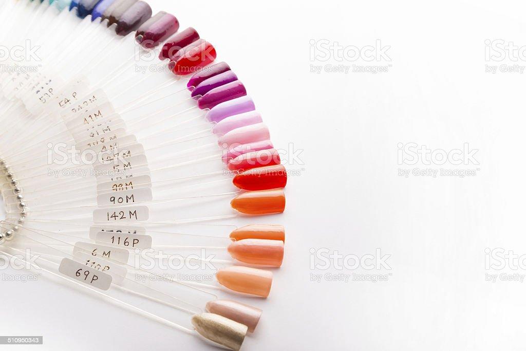 Manicure Nail Polish Color Samples For Nail Spa Salon Stock Photo ...