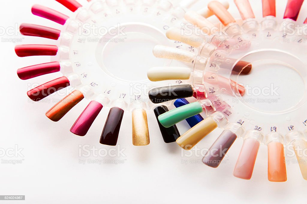 Manicure Nail Polish Color Samples On White Background Stock Photo ...