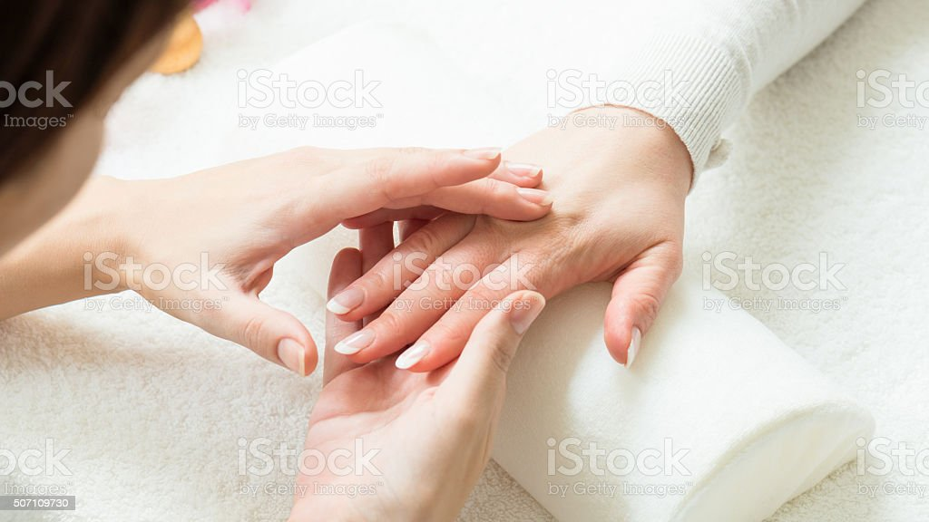 Manicure preparation stock photo