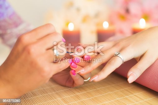 Manicure process in a professional beauty salon, making of artificial nails.
