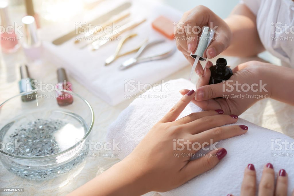 Manicure process stock photo