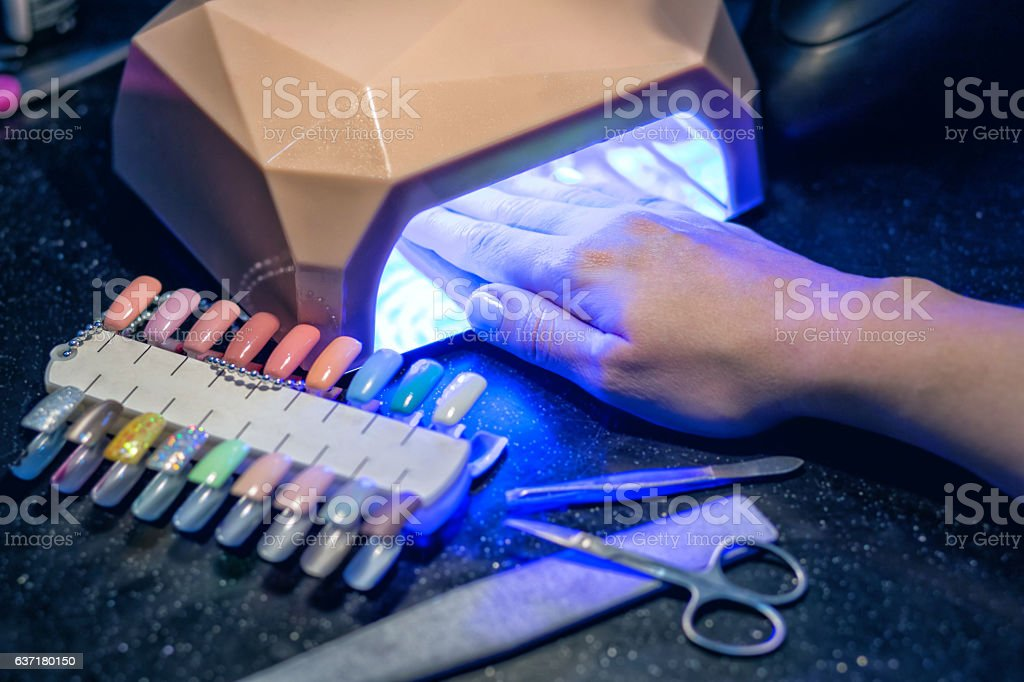 Manicure set in a beauty salon stock photo