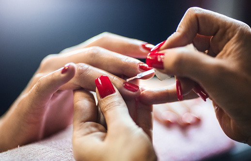 Manicure treatment. stock photo