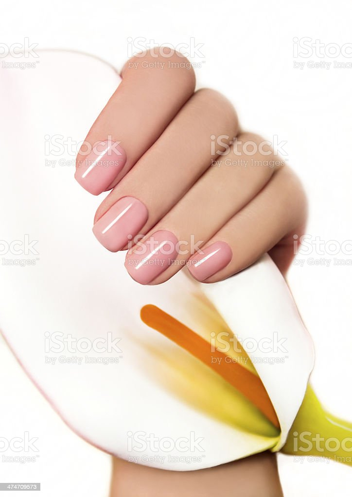 Manicure with gel coating. stock photo