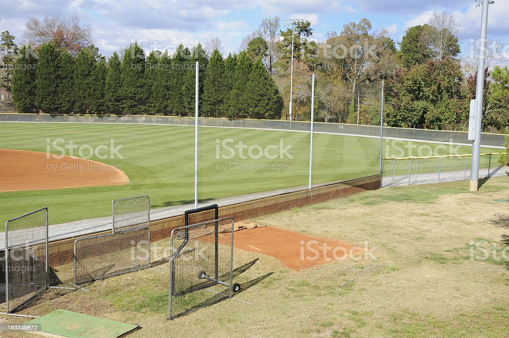 Manicured baseball field with pitching screens royalty-free stock photo