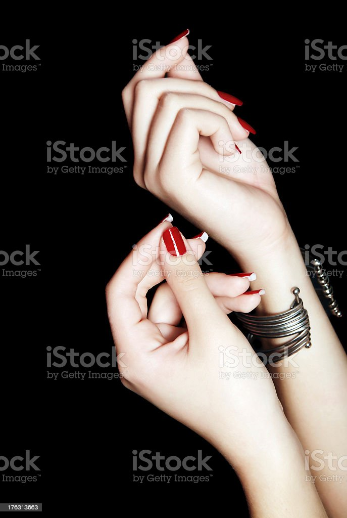 Manicured female hands royalty-free stock photo