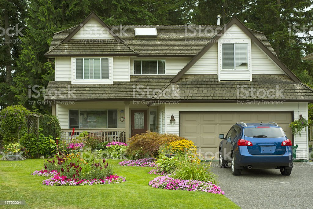 Manicured Home and Yard stock photo
