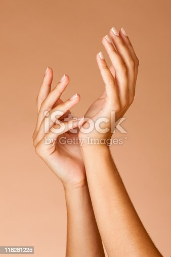 istock Manicured nails Woman hands 118281225