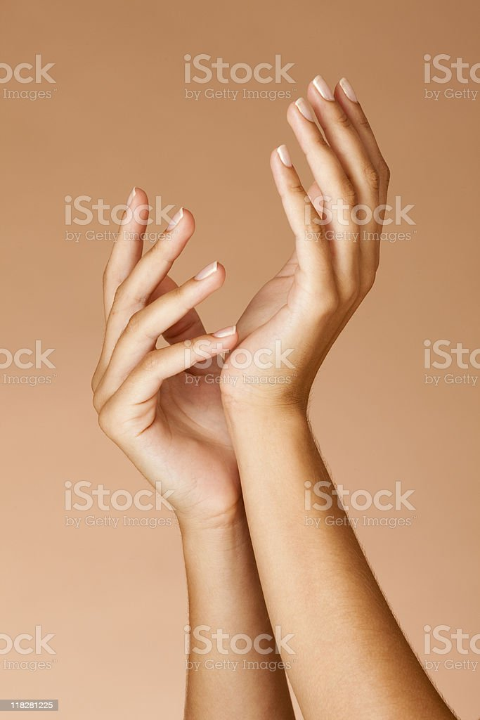 Manicured nails Woman hands stock photo