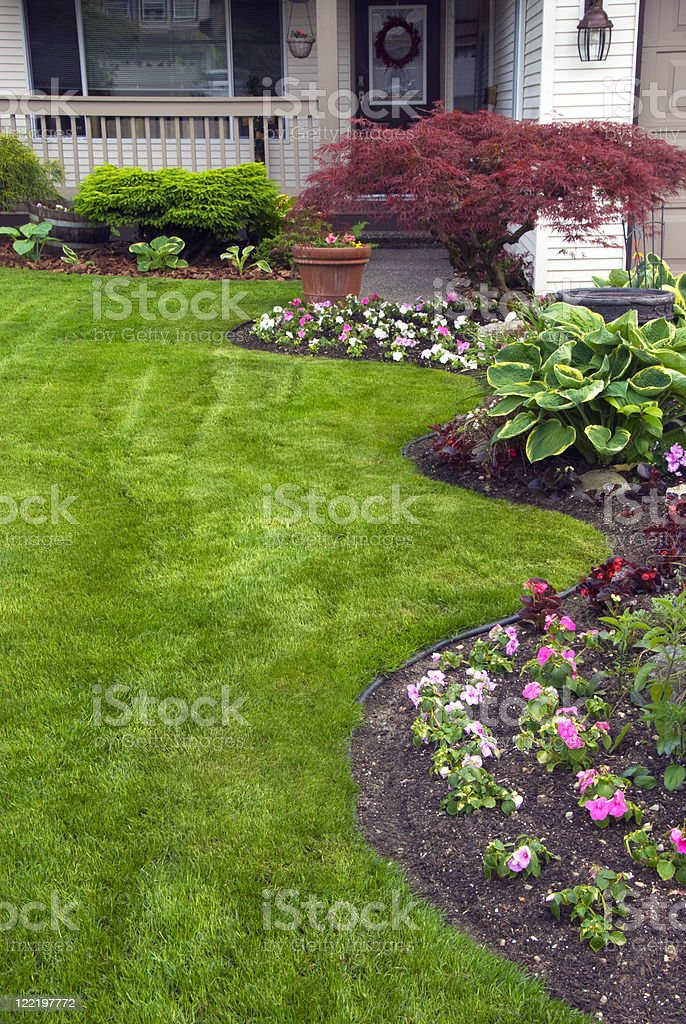 Manicured Spring Yard stock photo