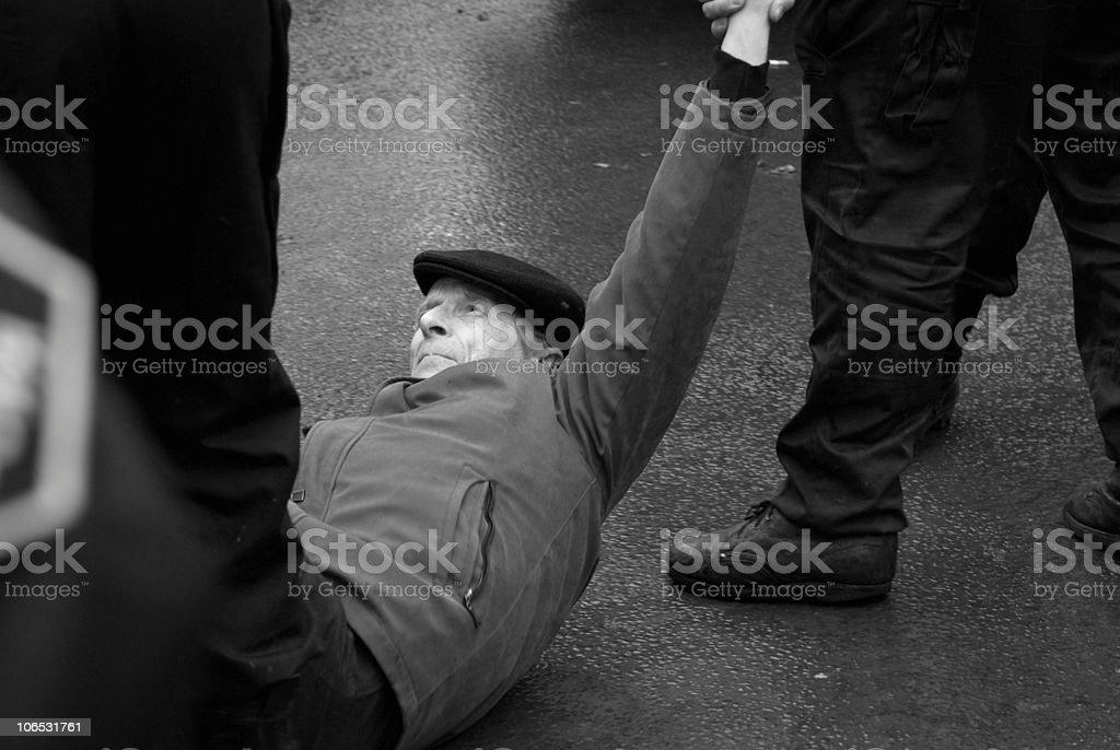 Manifestant violenté royalty-free stock photo