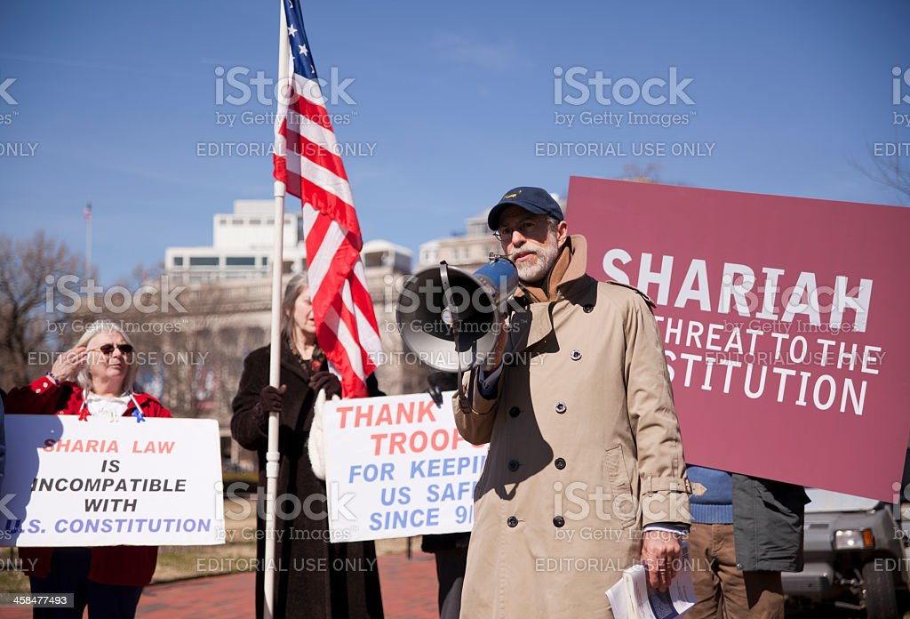 Manifestation against Shariah law before the White House stock photo