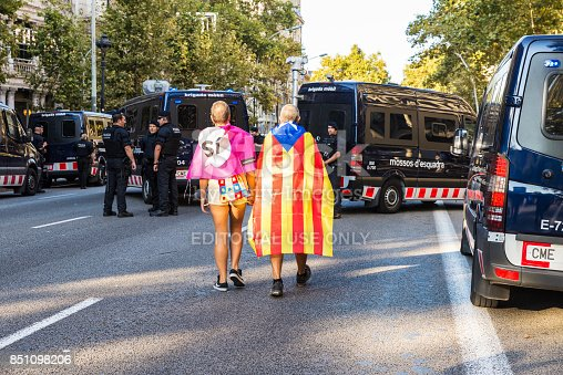 istock Manifestation for independence of Catalonia 851098206