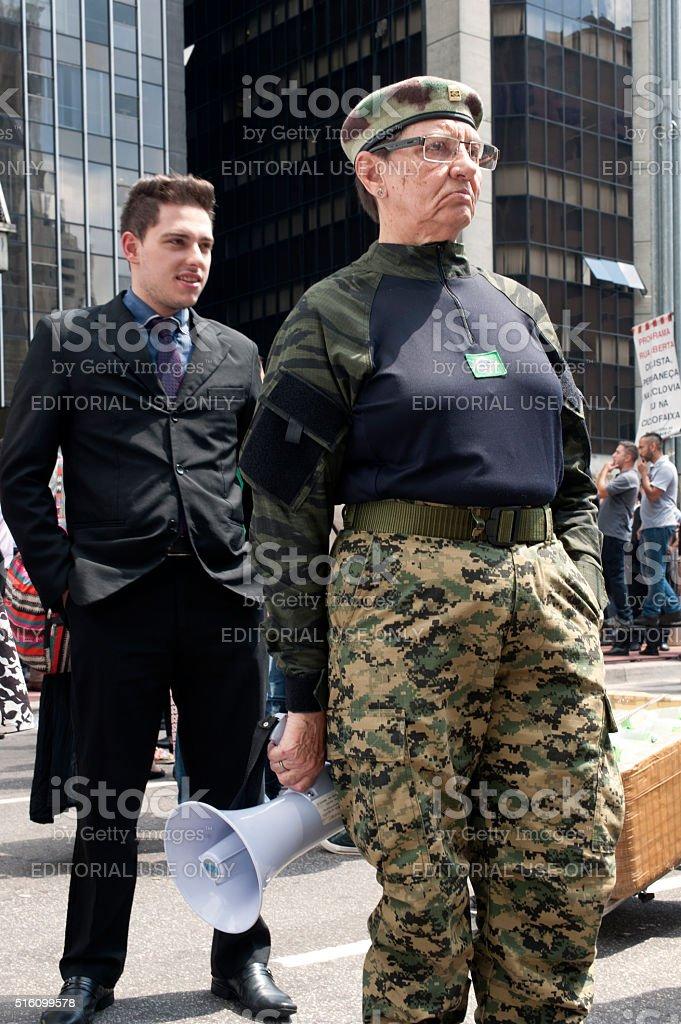 Manifestation Paramilitary in Brazil stock photo