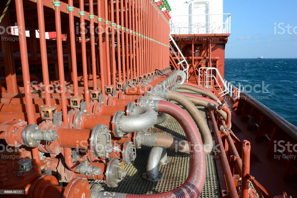 manifold on deck of chemical tanker アメリカ合衆国のストックフォト