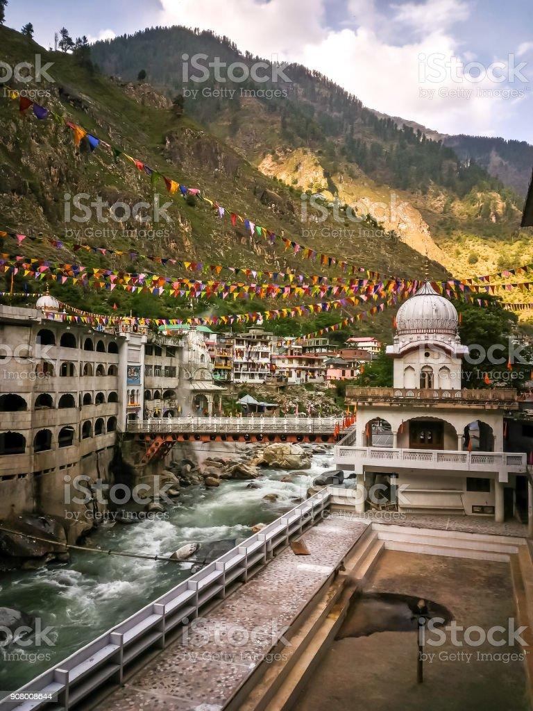Manikaran, Parvati valley, Himachal Pradesh, North India. View of the Manikaran. Manikaran with thermal springs is a pilgrimage centre for Hindus and Sikhs stock photo