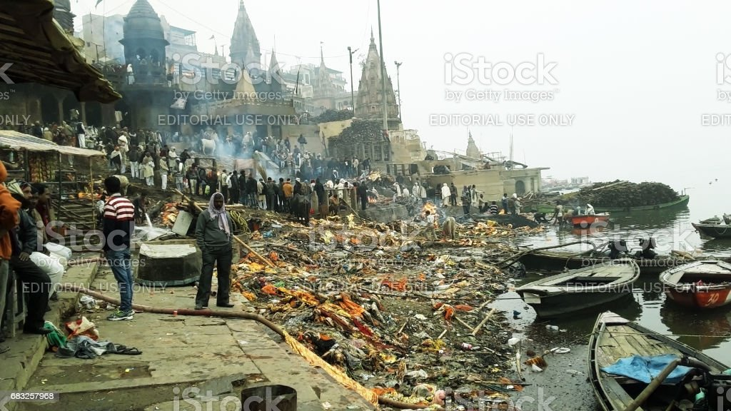 Manikarnika Ghat - Hindu funeral cremation place at Varanasi, India royalty-free stock photo