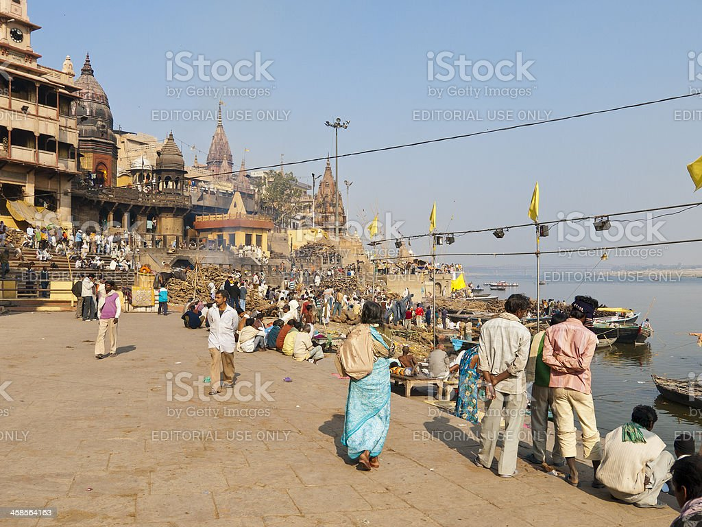 Manikarnika Ghat on the River Ganges at Varanasi royalty-free stock photo