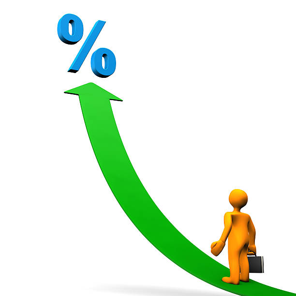 manikin arrow percent - depositor stock pictures, royalty-free photos & images
