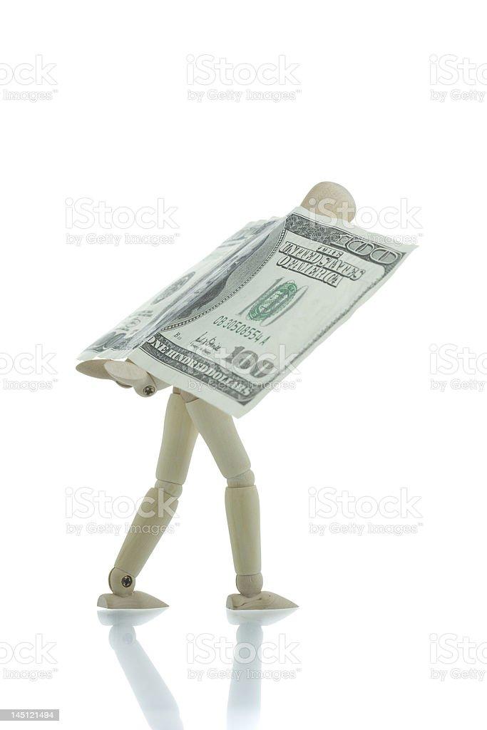 Manikin carrying hundred dollars bill royalty-free stock photo